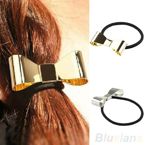 Hair Accessories Fashion Punk Polish Metal Bow Tie Hair Band Cuff Wrap Pony Tail Holder Headband 032I 49GI(China (Mainland))