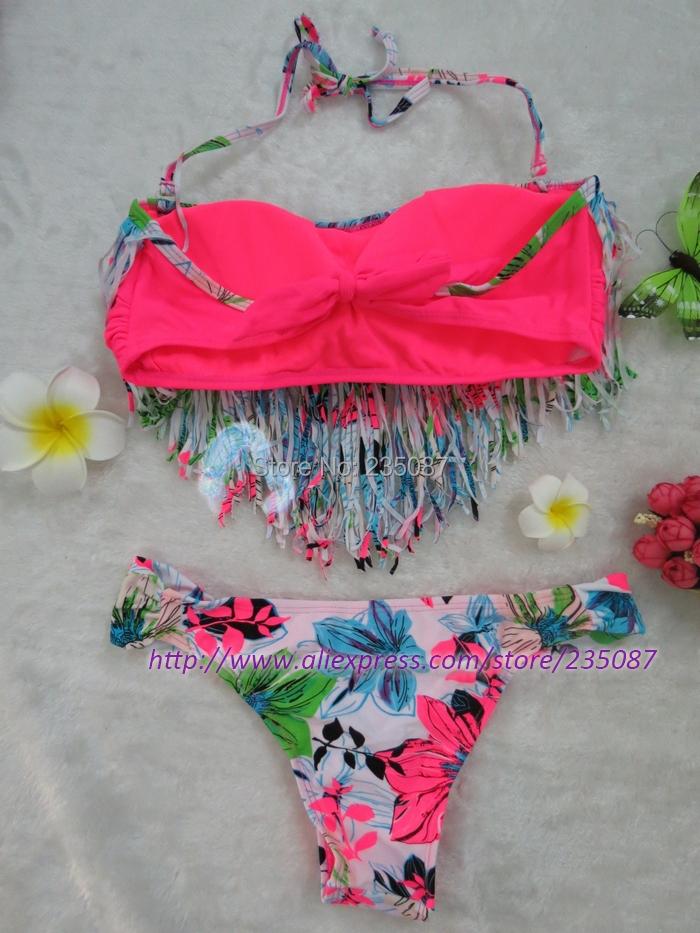 SM Новый Кисточкой печати бикини Холтер купальник, лопастные Цветочные бандо бикини, леди купальники Бахромой biquini майо де бейн