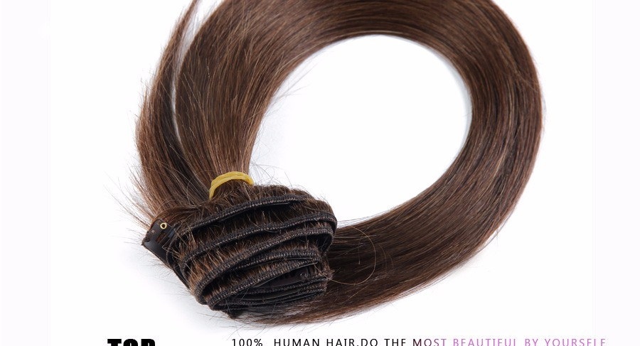 Brazilian clip ins Remy Virgin Brazilian Clip In Human Hair Extension straight 16-28″ 100-200g Clip In Natural Human Hair