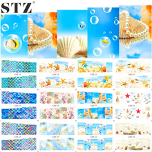 STZ 12 Designs Nail Art Water Transfer Decals Summer Sea Beach Styling Cartoon Design Adhesive Glue Manicure Sticker BN157-168(China (Mainland))