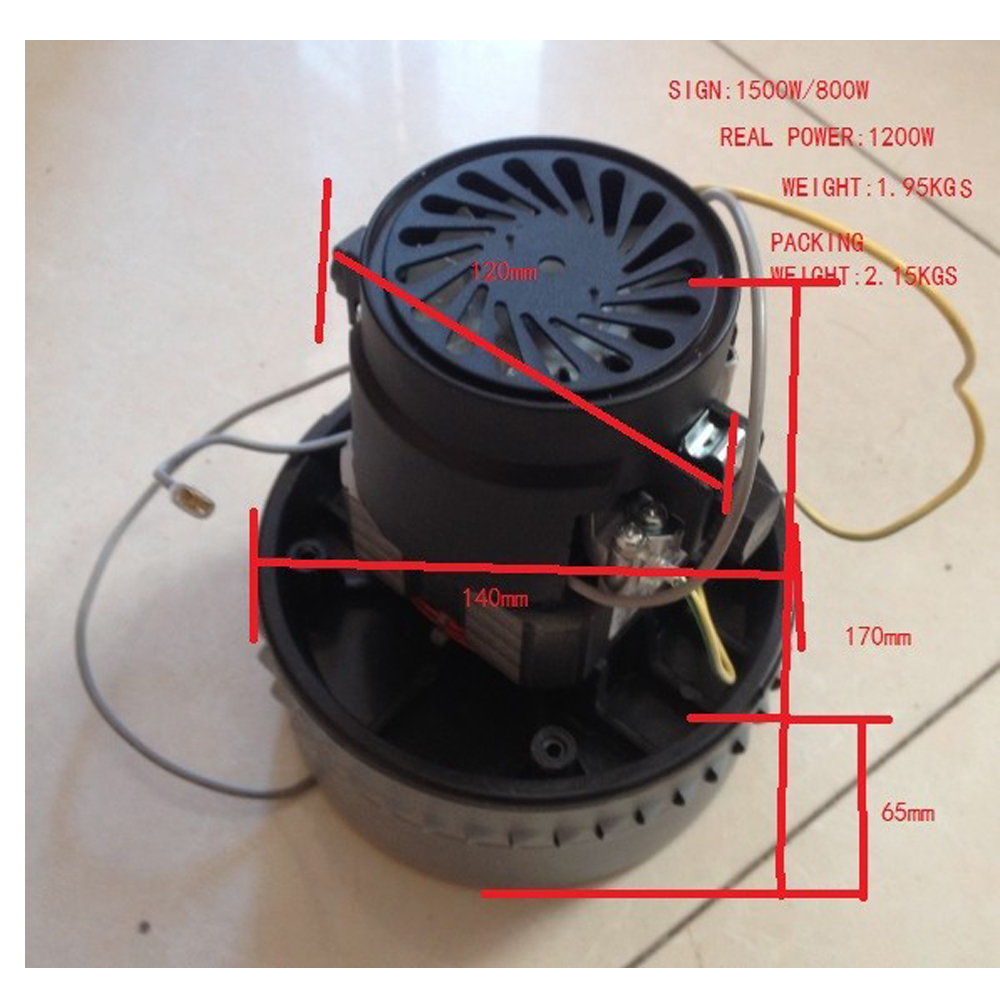 Free Post New 1200W Industrial Vacuum cleaner motor normal quality 1.95kgs(China (Mainland))