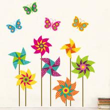 Large Size Windmill Flower sticker Wheel Flowerwall sticker cartoon nursery home decor jm8326