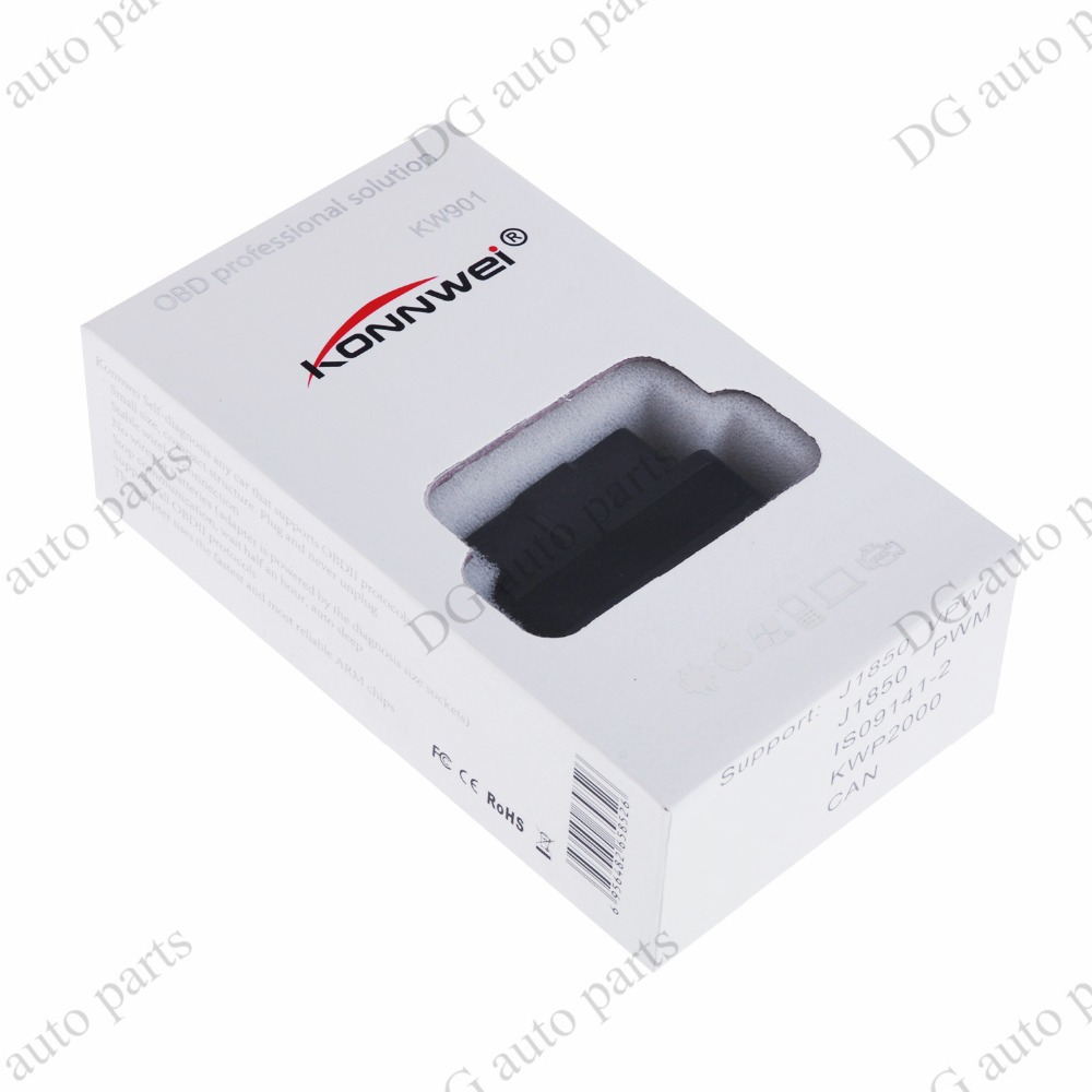 KW901 Diagnostic Tool ELM327 OBD Bluetooth Car Automotive Fault Diagnostic Scanner Detector Free Shipping