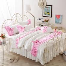 Fleece fabric winter Bedlinen Princess Luxury bedclothes Queen size bedcover Doona duvet cover skirt pillowcase 4pc bedding set(China (Mainland))