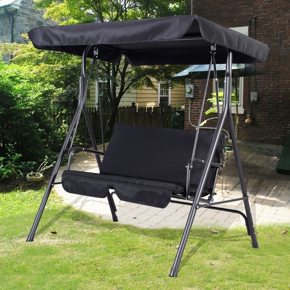 Garden Swing Seat 2 3 Seater Hammock Outdoor Swinging Bench Cushion Chair Pat