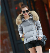 free Shipping 2015 new winter coat lady feather padded jacket large thick fur collar jacket female