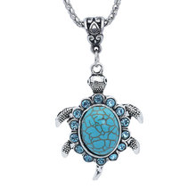 Buy NingXiang Fashion Antique Silver Women Natural Rhinestone Turtle Pendant Necklace Green Crystal Necklace Women Jewelry for $1.49 in AliExpress store