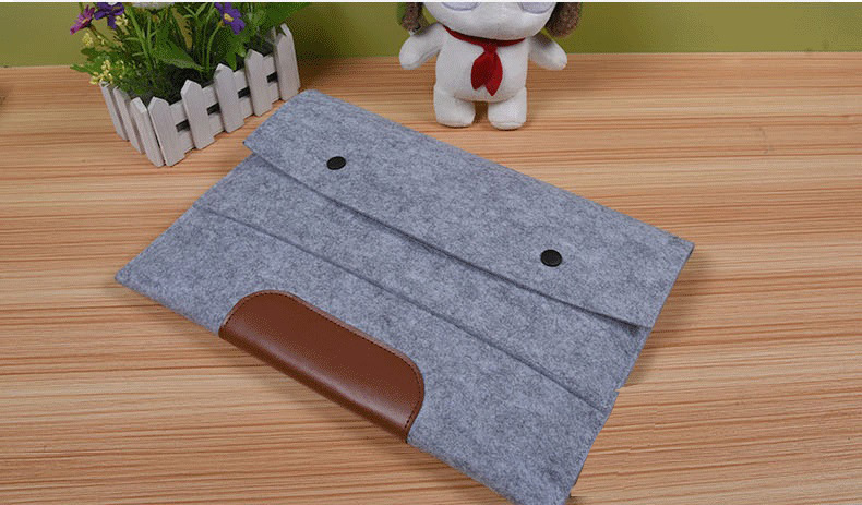 Pop Fashion Woolen Felt button design Laptop Sleeve Envelope Bag For Macbook air 11.6 13.3 inches for macbook pro13.3/15.4 inch(China (Mainland))