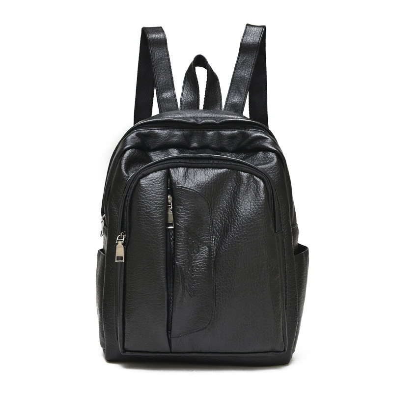 2016 new leather large capacity backpack Ms. pure black backpack network explosion of wholesale manufacturers