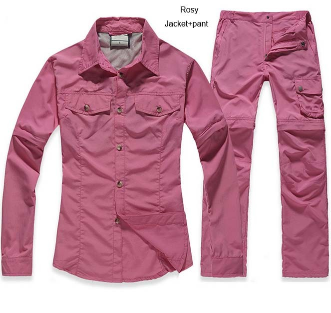 Women Summer Spring Trekking quick dry hiking shirt Woman Running Pant Biecycle Camping trousers suit plus size shirt+Pant S21