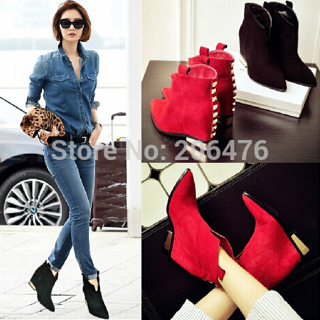 2 Colors New Arrival Brand Women Suede Pointed Toe Boots Autumn Ankle Boots Heels Botas Zapatos Mujer High Heels Boots<br><br>Aliexpress