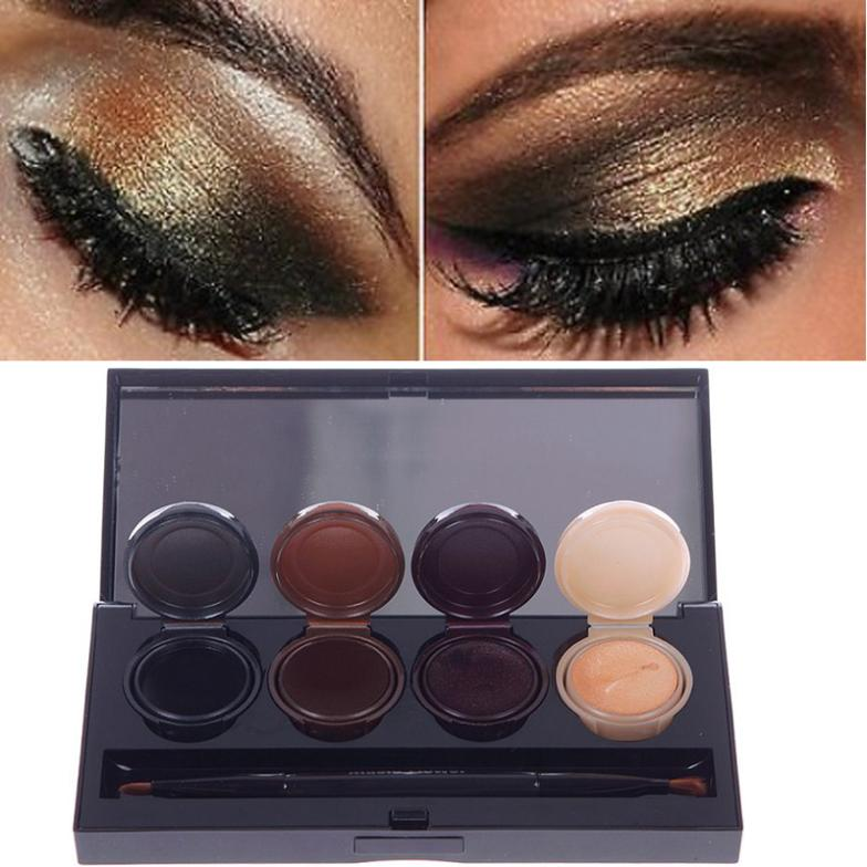 New 4 Color Eyeliner Gel Eyeshadow Cream Palette Smoky Eyes Makeup Set With Brush DTZE #55401(China (Mainland))