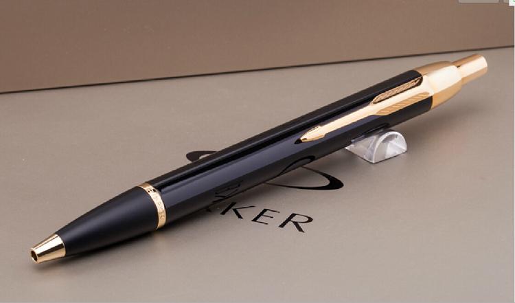 1pcs/lot Rough Black Pen Gold Clip Canetas Parker Pen IM Pens High Quality Parker Ballpoint Pen 0.7mm Office Supplies 13.6*1.2cm<br><br>Aliexpress