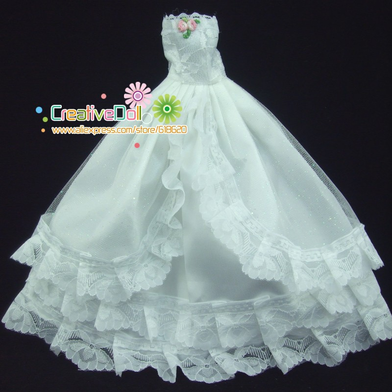 Free delivery New arrival Lace White wedding ceremony costume with veil for barbie doll