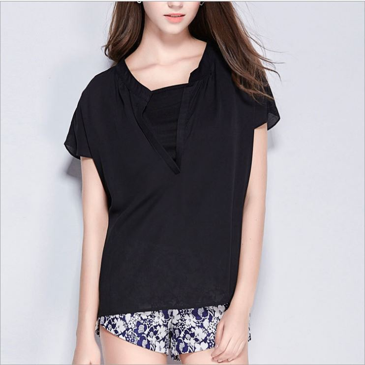 summer 2015 new fashion Europe United States women's wear loose long short sleeve v-neck shirt - GQ&F clothes store