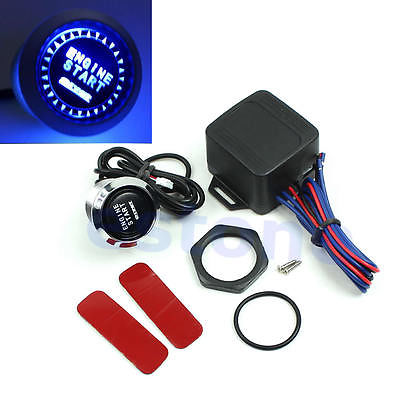 E74 Free Shipping 12V Car Engine Start Push Button Switch Ignition Starter Kit Blue LED Universal<br><br>Aliexpress