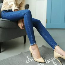 Spring new European and American fashion fringed trousers nine points jeans resilient significantly thin tight stretch 027