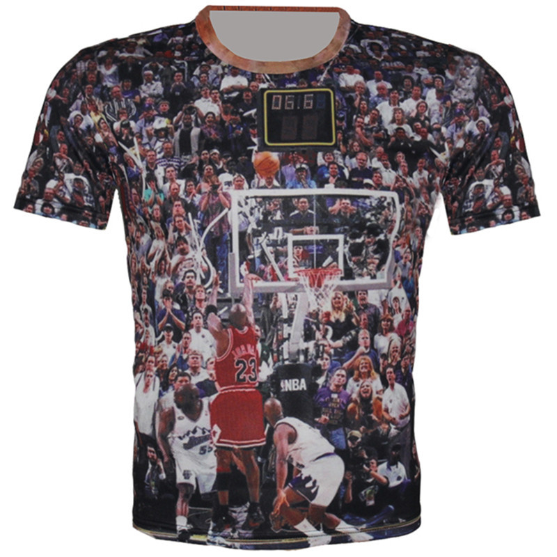Couture 2016 New Men's Novelty T-Shirt 3D Print Jordan Basketball All-Star Game T Shirt Tee tshirts Summer Tops Plus Size XS-6XL(China (Mainland))