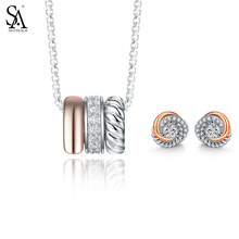 Buy SA SILVERAGE 925 Sterling Silver Jewelry Sets Necklaces Pendants Stud Earrings Fine Jewelry 925 Silver Necklace Earrings Women for $53.98 in AliExpress store