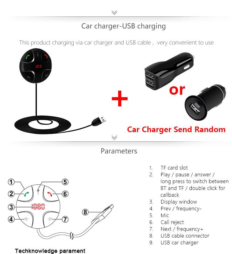 bluetooth car kit mp3 player audio wireless fm transmitter