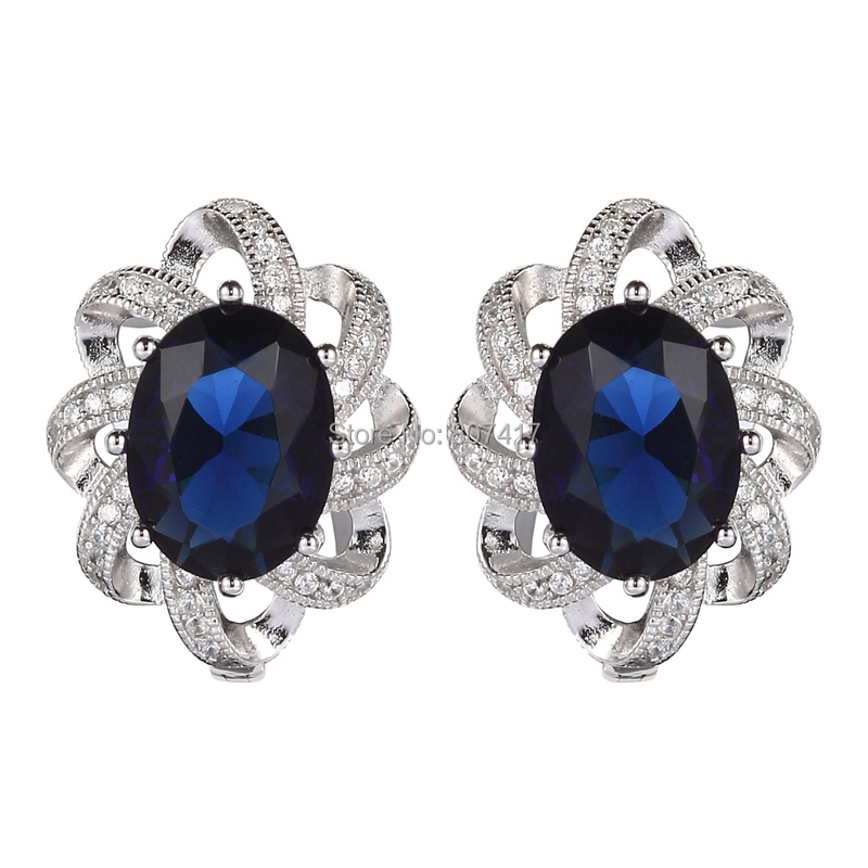 Wholesale Classic Dark Blue Cubic Zirconia beautiful S 925 sterling Silver Trendy Earrings Vintage Jewelry For Women S--3702(China (Mainland))