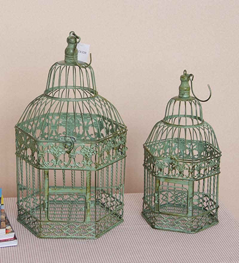2pcs set large bird cage wedding decorative antiqued - Cage a oiseaux decorative ...