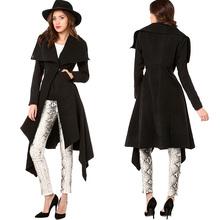 Aierwill Fan Yanwei hem Lapel waist double pocket long coat jacket