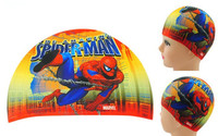 New 2014 cheap spider  person  Hot Lycra Swim caps for kids Children swimming cap digital cute cartoon baby bathing cap