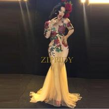 Multicolor Stones Rose Flowers Red Green Rhinestones Long Dress Stage Wear Nude Stretch Nightclub Female Singer Evening Outfit(China)