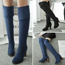 Más el tamaño de invierno mujeres chunky heel ante el muslo elástico delgada botas largas plataforma botín azul marino de nieve caliente botas zapatos(China (Mainland))