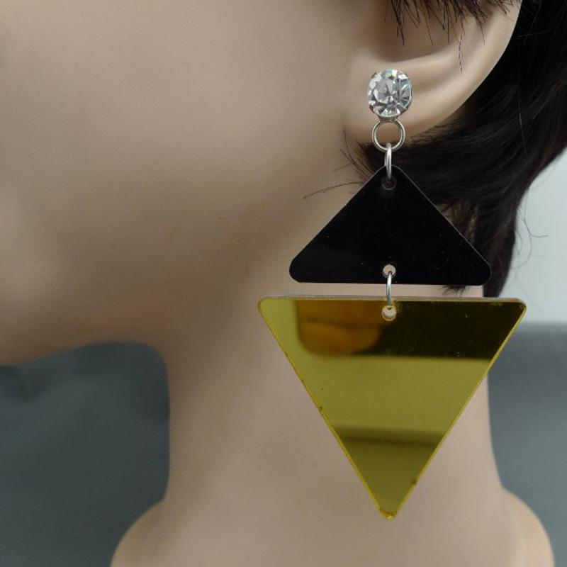 Big large mirror Acrylic triangle crystal earrings<br><br>Aliexpress