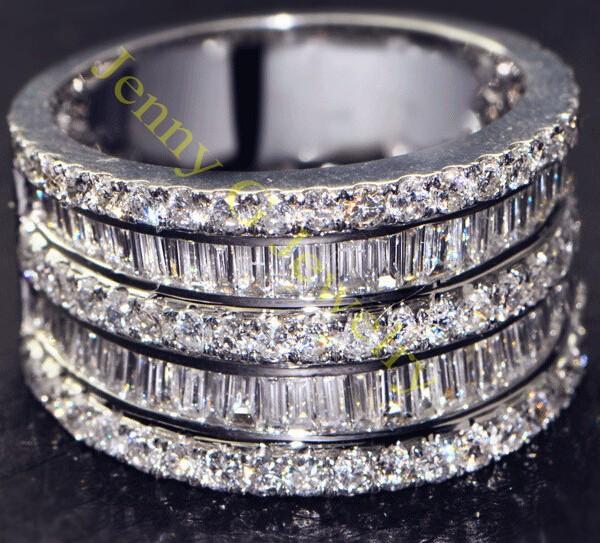 Sparkling Eternity Jewelry 14K White Gold Filled Simulated Diamond CZ Pave Set Big Band Engagement Wedding Ring Free shipping(China (Mainland))