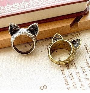 2015 Fahion Vintage Cat Rings For Women Animal Ear Party Wedding Bands Lovely Zinc Alloy Rings Wholesale Jewelry 12pcs/Lot B4R7C