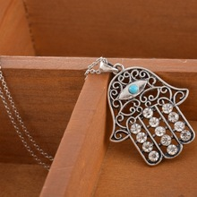 1PC Hamsa Fatima Hand Pendant Necklace Evil Eye Jewelry Inlaid Turquoise Boho Bohemian Style