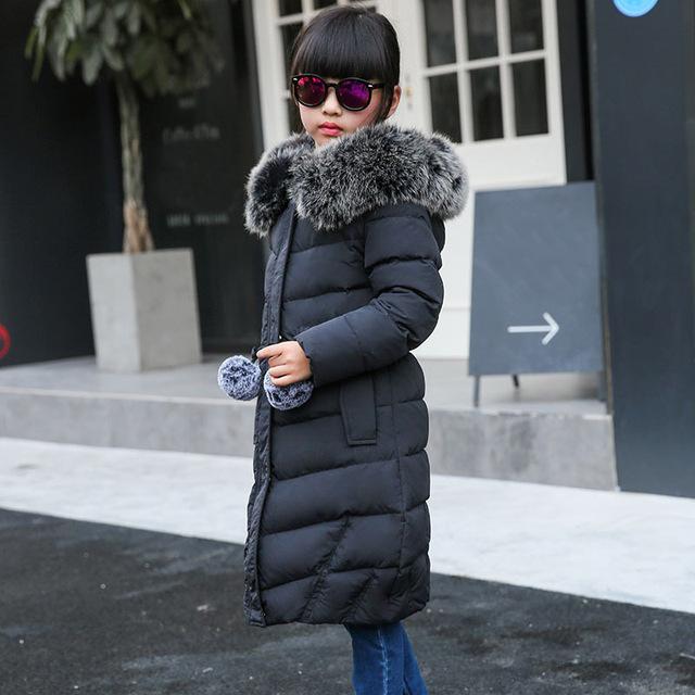 Девушка зима пуховики Девушка долго женский большая девочка ребенка одежда 2016 новый толстый слой верхней одежды с капюшоном меховой воротник куртка D14