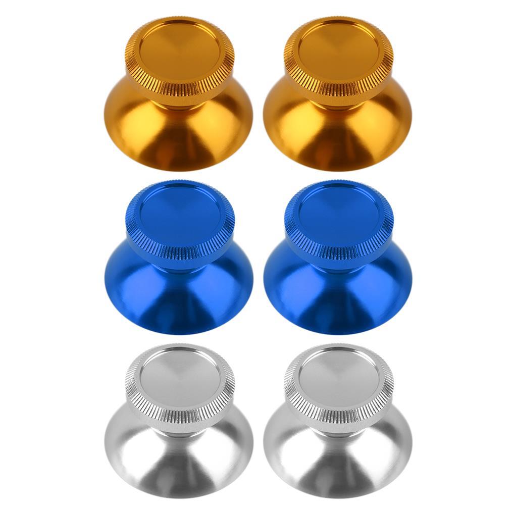 image for 2pcs Universal 3D Thumbstick Cap Aluminum Alloy Metallic Metal Analogu