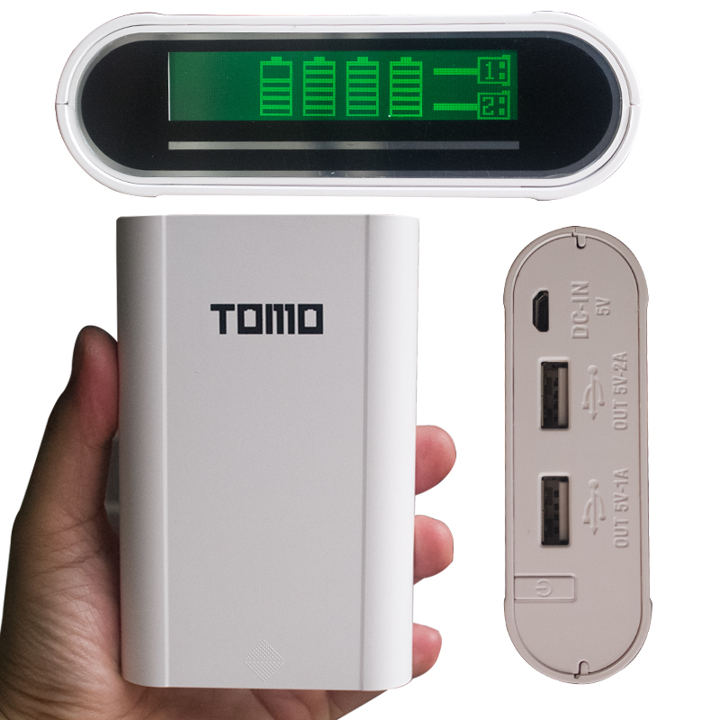 Tomo Power Bank 18650 Battery Mobile Charger Device LCD Powerbanks18650 Portable Charger Bank with Protective Circuit +USB Cable