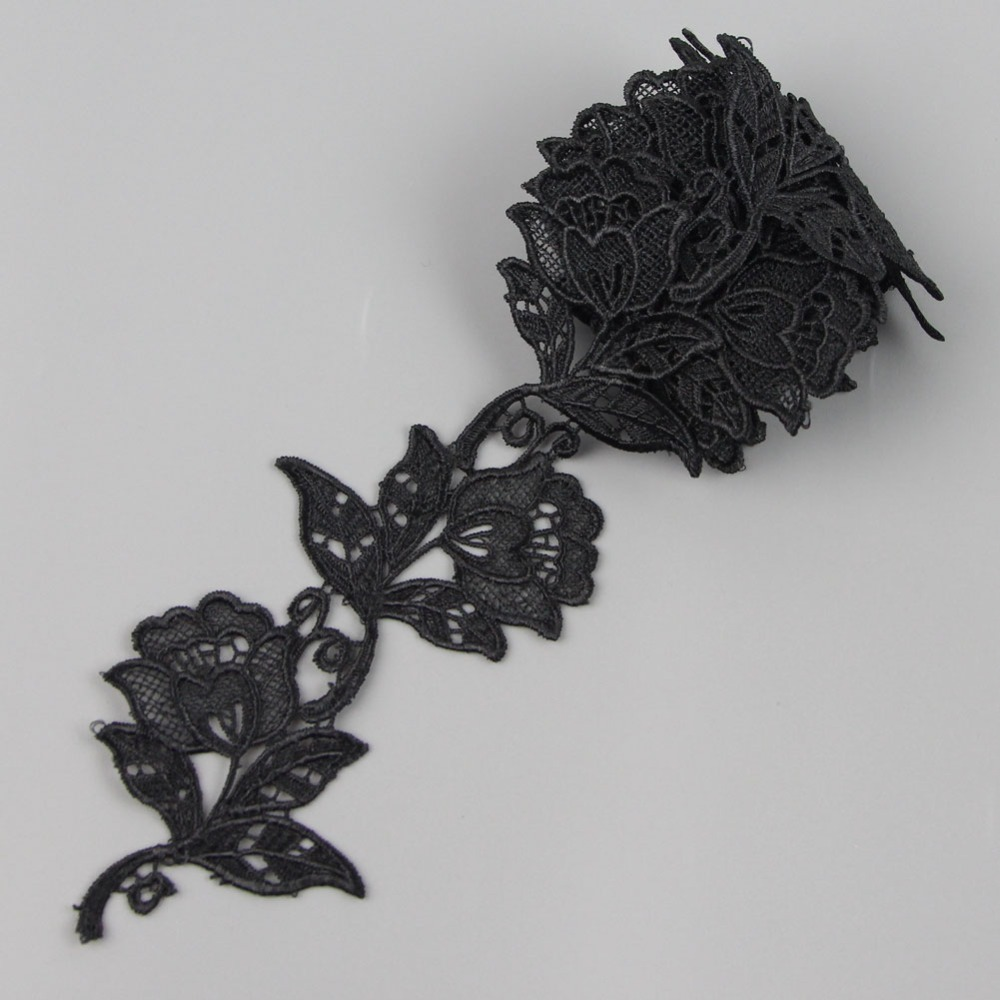 9 cm 35 inches 2 yards black rose lace trim applique cord