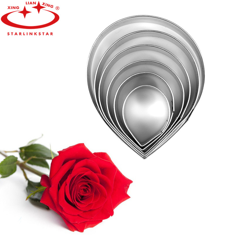 6pcs/set Stainless Steel Rose Petals Fondant Cookie Cutters Home Baking Tools(China (Mainland))