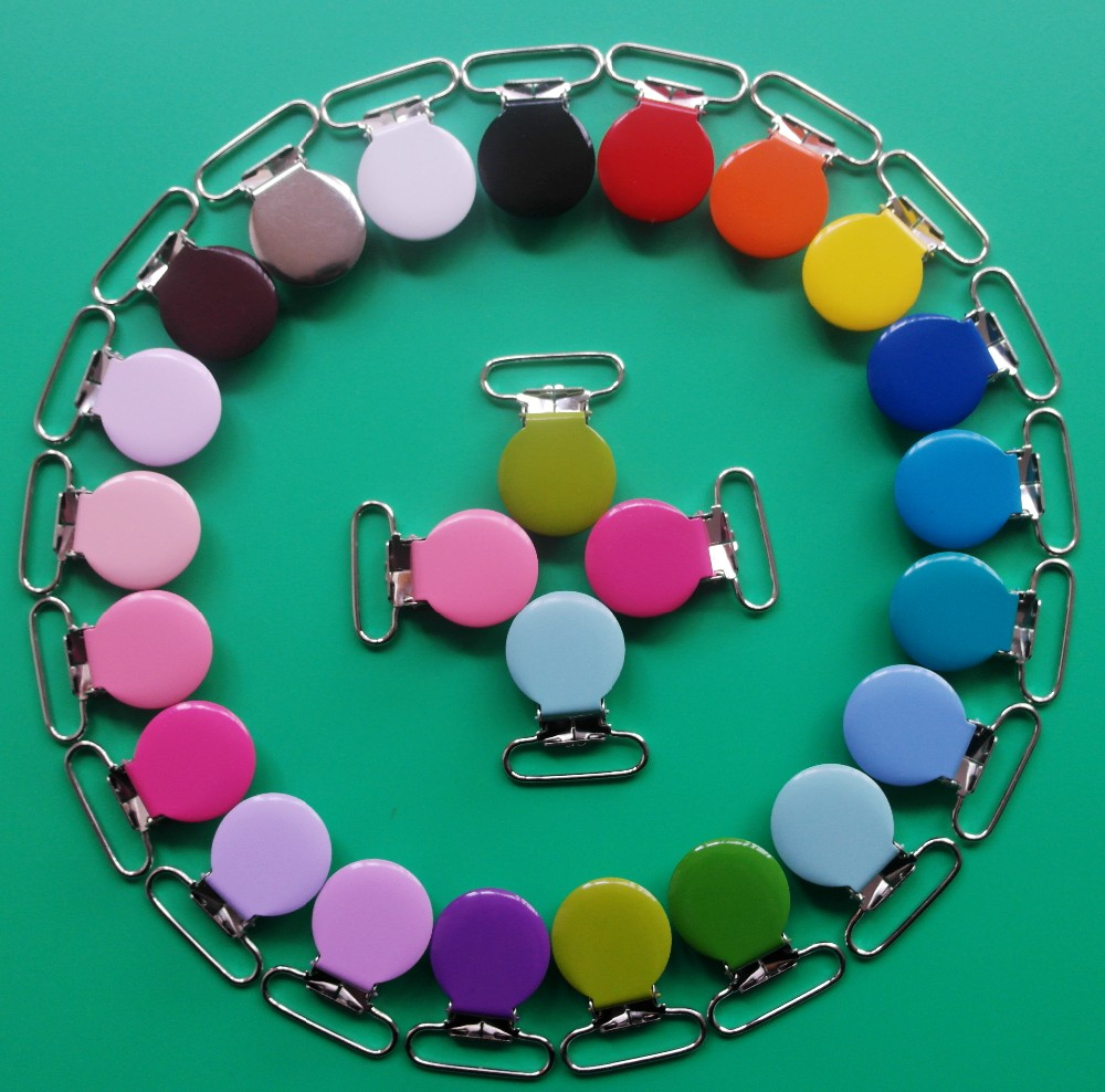 """By DHL Free Shipping!420pcs Mix 21 Colors 1"""" Round Metal Pacifier Clips,Enamel Suspender Clips With Plastic Teeth,Lead Free(China (Mainland))"""