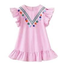 Vestidos de Meninas de verão Borla Manga Voando Tarja Bonito Crianças Vestidos de Festa para Crianças Vestido de Princesa das meninas Tops Roupas(China)