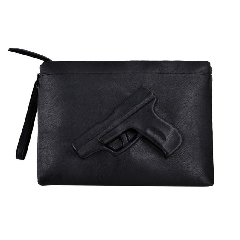 Unique women messenger bags 3D Print Gun Bag Designer Pistol Handbag Black Fashion Shoulder Bag Day Envelope Clutches With Strap(Hong Kong)