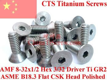 Titanium screws 8-32x1/2 Flat  CSK Head Hex 3/32 Driver Polished<br><br>Aliexpress