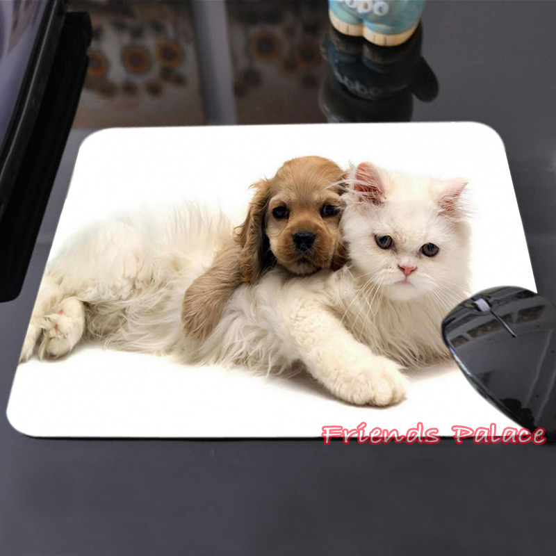 Make Your Own Anime Mouse Pad Cutest Brown Puppy and White Kitten Peaceful Harmony Custom-made Computer Notebook Mouse Mat Pad(China (Mainland))
