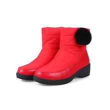 Meotina Kadın Ayakkabı Kar Botları Kış Aşağı Kama Topuklu kısa çizmeler Kürk Platformu Çizmeler Yuvarlak Ayak Bayanlar Ayakkabı Kırmızı Büyük Boy 5-11(China)