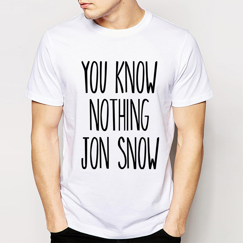 Game Of Thrones You Know Nothing Jon Snow Tshirts Male Short Sleeve Tops Summer New Arrival