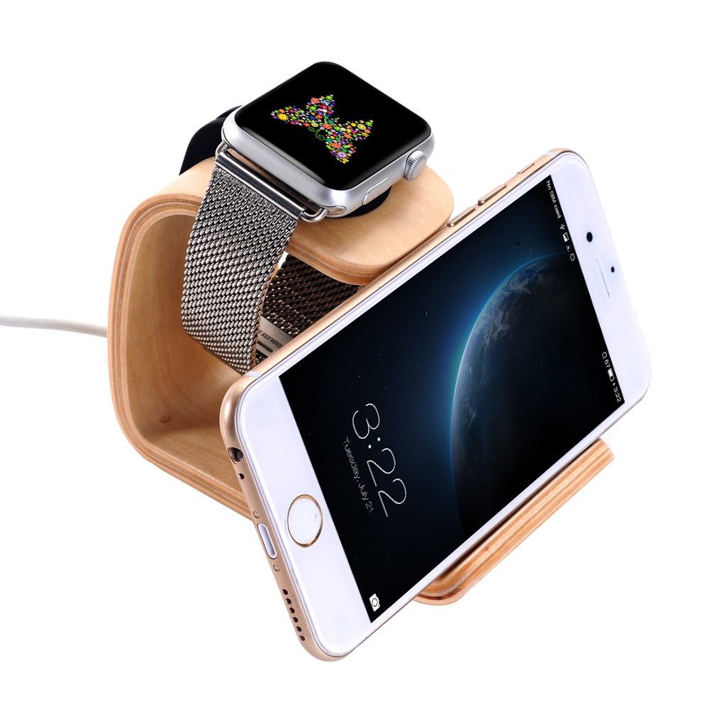 Wooden Charging Stand Holder Wood Dock Cradle Display for Apple Watch iWatch 38mm 42mm for iPhone 6 6S 6 Plus Samsung edge HTC