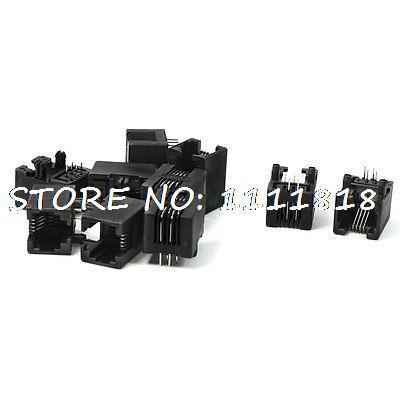 PCB Mounting Type 90 Degree Pins RJ11 6P4C Modular Telephone Jack 10 Pcs(China (Mainland))