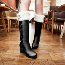 2015 Winter Warm New Pull-on Cuffed Knee High boots womens Round Toe Snow Boots faux leather Mid heels shoes Furry Plus Size(China (Mainland))