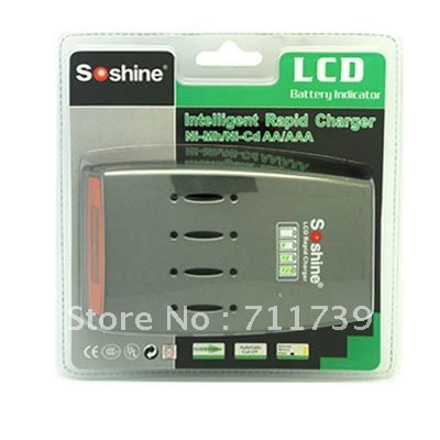 SoShine LCD Quick Charger for AA/AAA Hi-Tech LCD NiMH/NiCD Battery LCD Charger(China (Mainland))